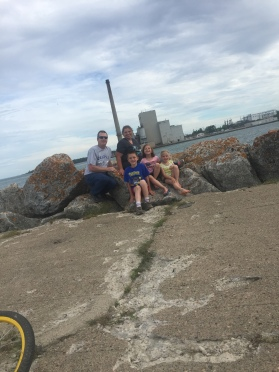 We rode our bikes out to the end of a breakwall when we were camping